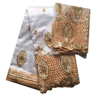 Indian Fabric Traditional Patterns Raw Silk George Wrappers In Royal Blue For Africans With Sequins