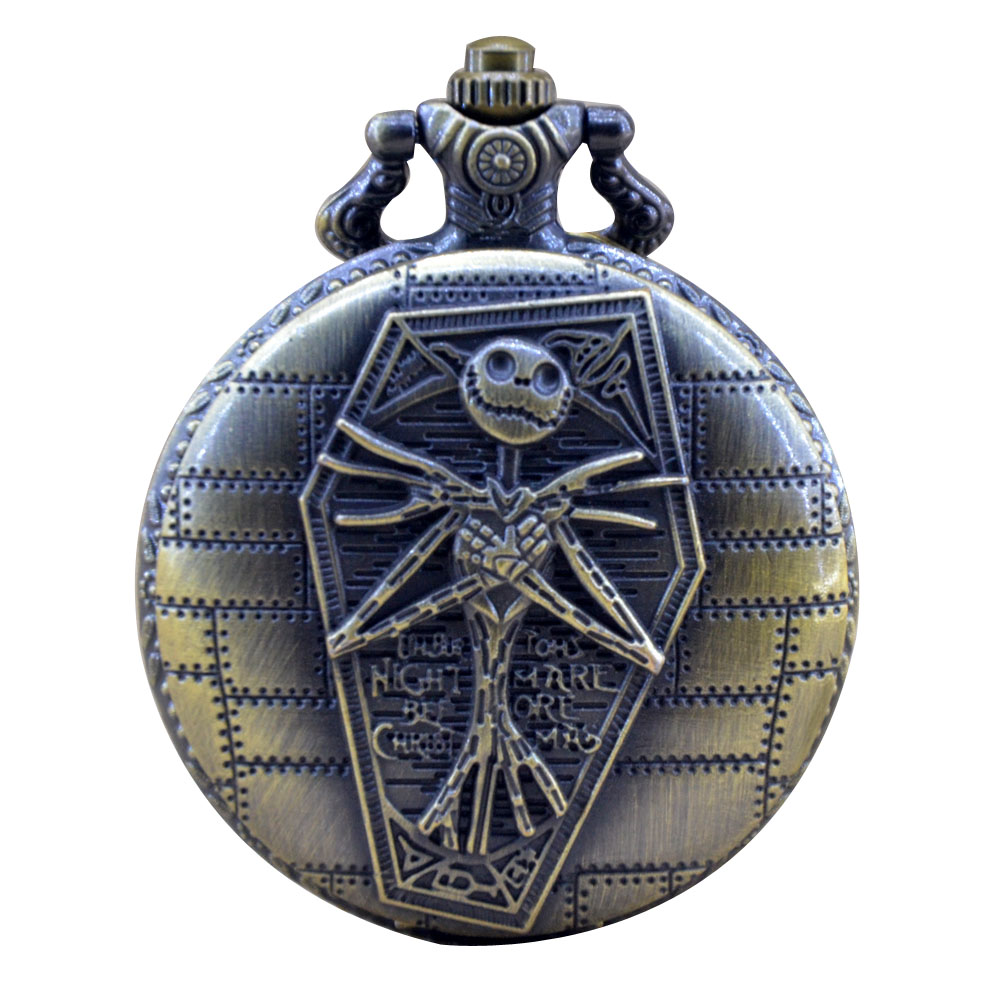 Bronze Black Dial Nightmare Before Christmas Quartz Pocket Watch ...