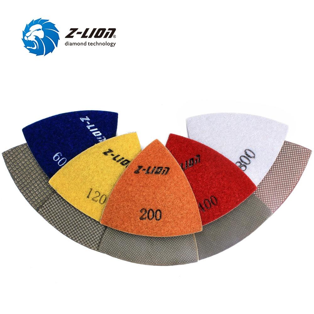 Z LION 80MM Triangular Polishing Sanding Pad 5pcs Renovator Multi Tool Electroplated Diamond Pads Accessory For