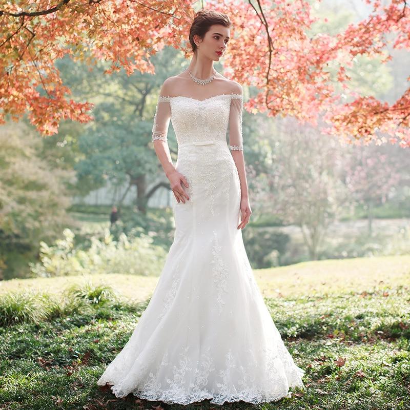 Sheath Wedding Dresses 2019: Elegent Wedding Dress 2019 Off The Shoulder Bridal Gown