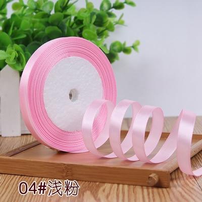 10 мм, 25 ярдов, односторонняя шелковая сатиновая лента, дешевая декоративная подарочная упаковка, Свадебные Рождественские ремесла, белые, розовые, красные, черные ленты - Цвет: Розовый