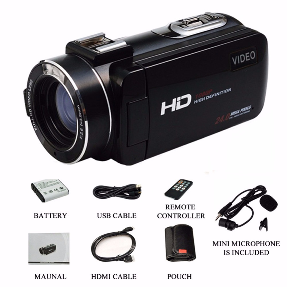 Marvie Mini Portabel WIFI Camcorder FHD 1080p@30 FPS Max 24.0 MP 16X Digital Zoom External Microphone Video Recorder DV 12
