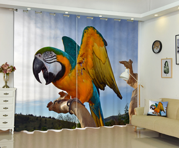 New Design 3D Parrot Print Curtains Bedding Room Window Curtain Thick Backout Shade Curtain for Hotel Customized Size Availzble