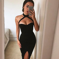 2016 Women Sexy Party Dresses Off The Shoulder Bandage Dress Celebrity Bodycon Dress Three Crystal Yz