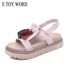 E TOY WORD Sandals women 2019 Beach Fringe Sandals Hook & Loop Open Toe Summer Shoes Thick bottom Gladiator Womens sandals flat global version huami amazfit gtr 42mm smart watch 5atm smartwatch 12days battery gps music control for xiaomi android ios