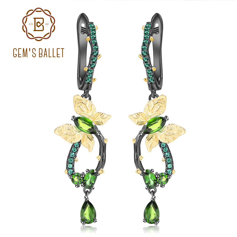 GEM S BALLET 925 Sterling Silver Earrings Natural Chrome Diopside Handmade Butterfly on Branch Drop Earrings