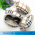 Hot sale da moda caso duro grande caixa de óculos de sol para as mulheres suglasses xadrez de couro caixa de óculos de alta qualidade