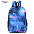 Wiliamganu 2017 moda mulheres estrelas universo espaço mochila impressão do livro de escola mochilas saco de estrelas