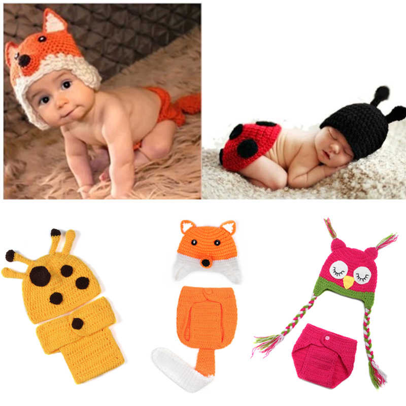 Newborn Photo Props Crochet Costume Knitted Baby Hat Sets Newborn Baby  Animal Photography Props 6089d9b8042b