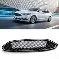 Black Front Grille Grill Bezel Honeycomb Mesh Cover with logo fit for Ford Mondeo Fusion 2013 2017 Car styling