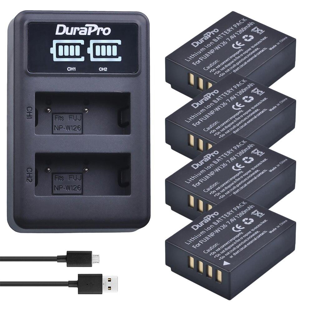 Durapro 4 pc NP-W126 NP W126 Caméra Batterie + LED USB Chargeur Pour Fujifilm HS50 HS35 HS33 HS30EXR XA1 XE1 x-Pro1 XM1 X-T10 Caméra