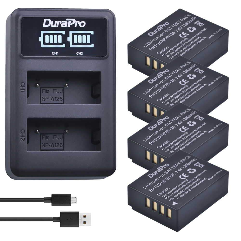 Durapro 4pc NP-W126 NP W126 Camera Battery + LED USB Charger For Fujifilm HS50 HS35 HS33 ...