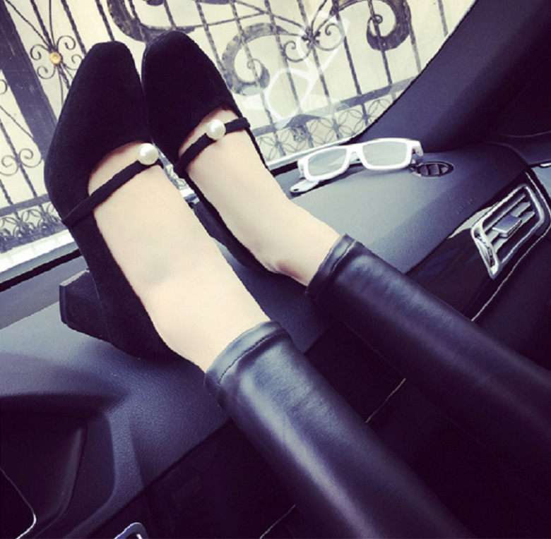 ФОТО  comfortable with thick shallow mouth shoes in the office work with all-match spring and summer fashion women's shoes