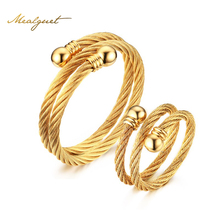 Meaeguet Adjustable Jewelry Set Double Cable Cuff Jewelry Set For Wedding Gift 18K Gold Plated Women Ring+Bangle For A Set