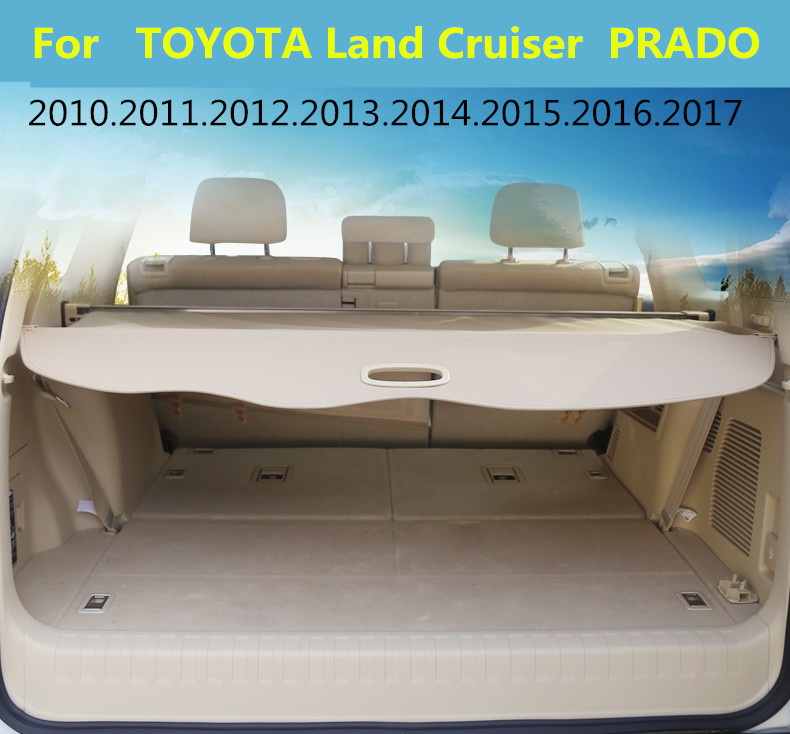 Car Rear Trunk Security Shield Cargo Cover For TOYOTA Land Cruiser PRADO 150 2010.11.12.13.14.15.16.2017 High Qualit Accessories car rear trunk security shield cargo cover for ford everest 2015 2016 2017 high qualit black beige auto accessories