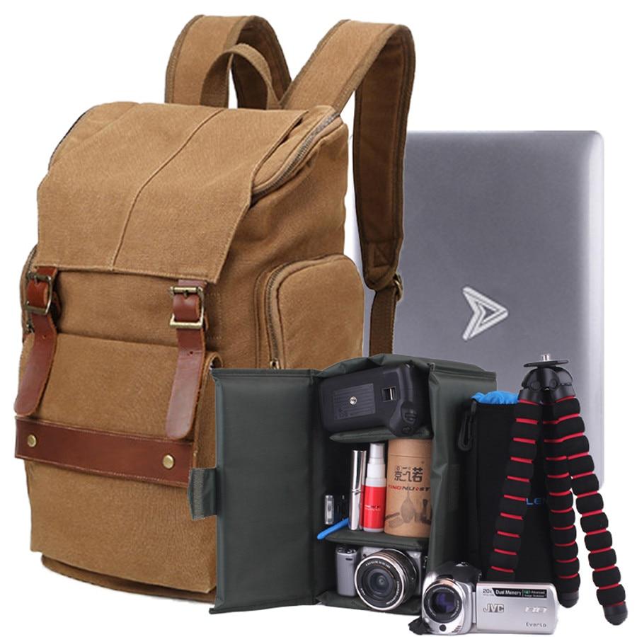 2017 Canvas 17 Laptop Bag 35L Large Capacity Men Multifunction Travel Backpack gift liner bag for Canon Nikon SLR Camera Bag профессиональная цифровая slr камера nikon d3200 18 55mmvr