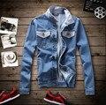 Мужские Джинсовые Куртки Случайные Люди Джинсовые Рубашки Slim Fit Мужчины джинсовые Пальто Высокое Качество Джинсовая Куртка Мужчины Плюс Размер Denim куртка