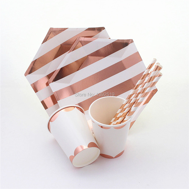 rose gold striped paper plates cups straws party tableware for birthday wedding bridal shower bachelorette party