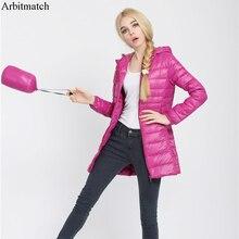 Arbitmatch Down Parka Famous Brand Designer Winter Jacket Women Long White Duck Down Jacket Outwear Ultralight Hooded Thin Coat