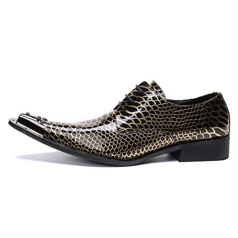 Italianos Puntiaguda Mocasines Boda Lujo Diseñador Zapatos Oro Para Formal De Vestido Fiesta Metal Derby Patente Sl406 Cuero Punta Hombre YHOtqwv0fw
