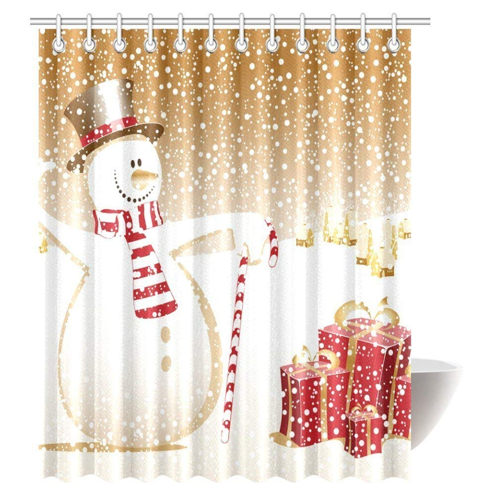 Christmas Shower Curtain Merry Christmas Snowman Xmas ...