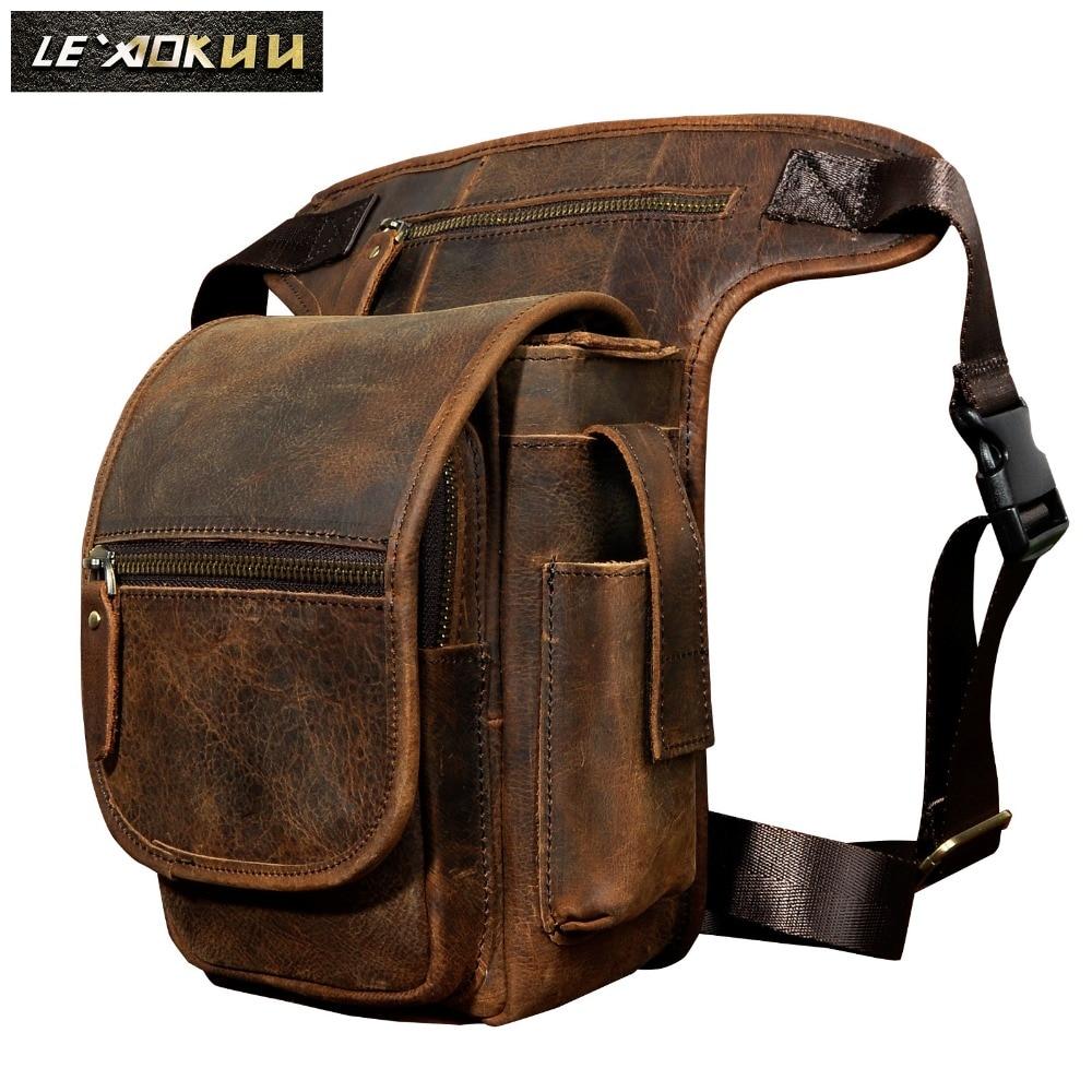 Quality Leather Men Design Casual Tablets Satchel Sling Bag Multifunction Fashion Travel Waist Belt Pack Leg Bag Male 3110