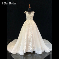 Shinny Tulle Lace Wedding Dress 2019 New Style Illusion Neckline Luxury Bridal Gown High end