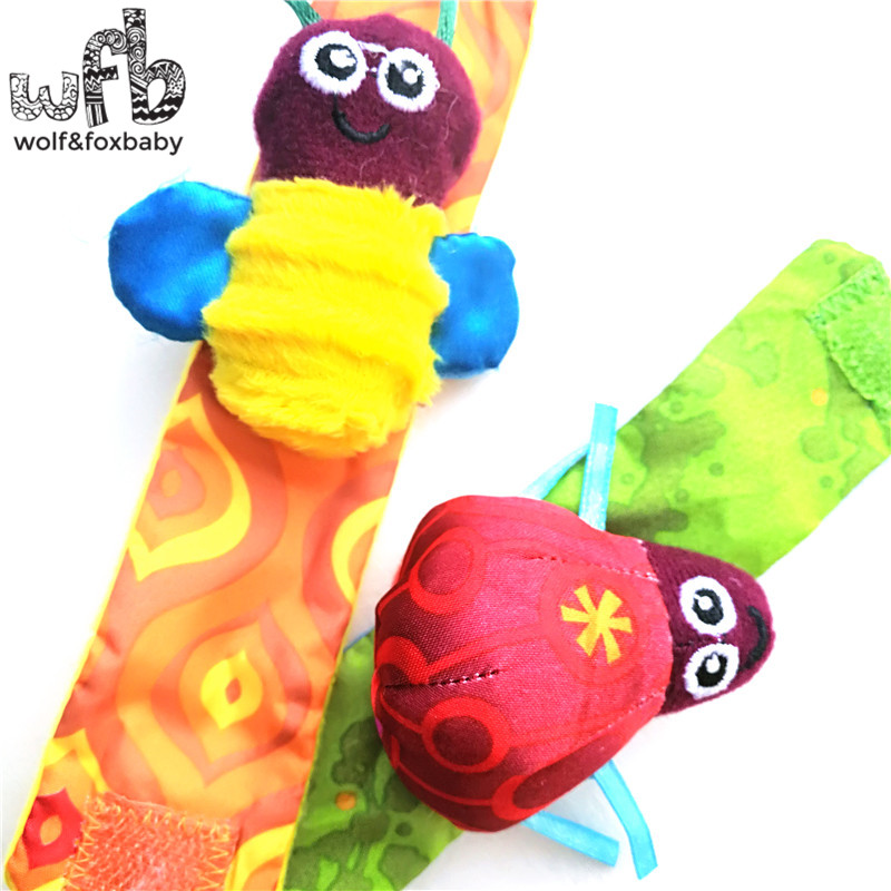 Retail 2pcs/pack infant baby toys new style animals bees + ladybird Wrist Rattles with ring bell for learning&education 2014