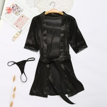 a36beb8b1e Ladies Sexy Lace Silk Robes Sets On For Women Lingerie Sleepwear Nightdress  Underwear With Panties Bandage