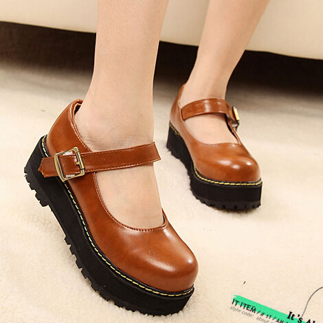 2014 Spring Autumn Round Toe Vintage Leather Womens Flats Mary Jane Flat  Platform Preppy Casual Shoes Woman Brown Black Red