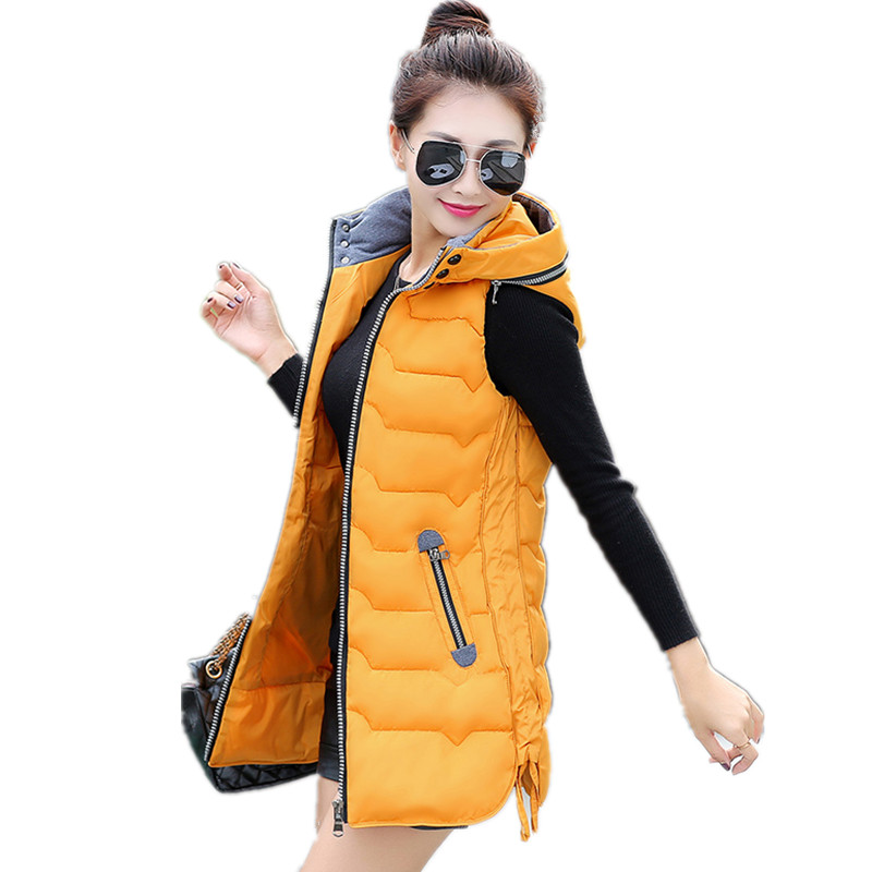 5XL Thick Warm Long Vests For Women Down Jackets Female Winter Cotton Waistcoat Detachable Hat Yellow Women's Sleeveless Coat