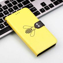 Bee Flip Leather Phone Case For Samsung Galaxy A20 A20E Wallet Card Holder Slot Back Cover Coque Fundas Capa