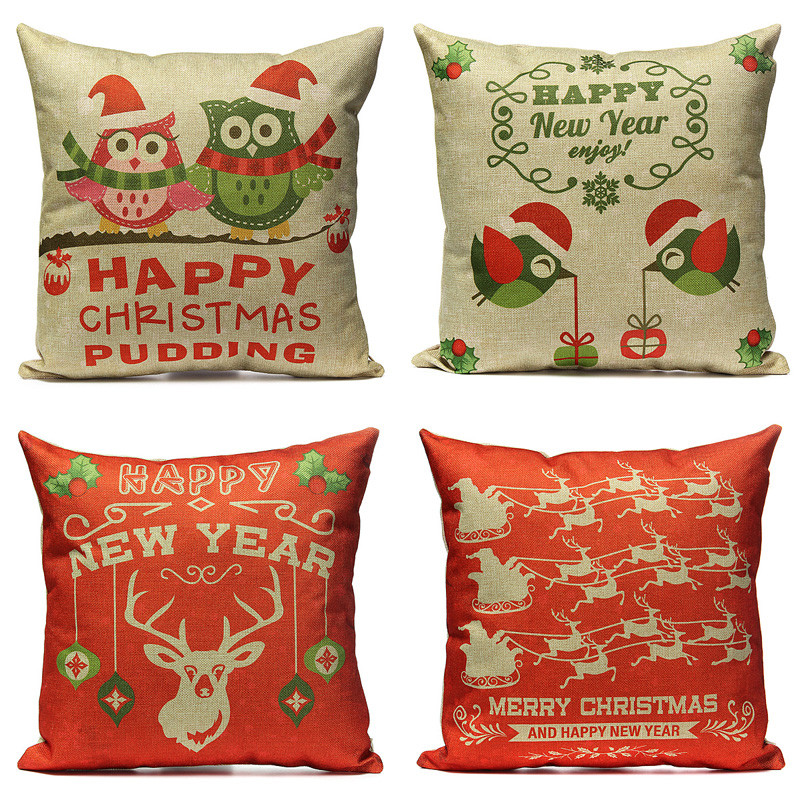 Happy Christmas Baby i store Brand Cushion Cover Santa Claus Christmas Tree Christmas Gifts Printing Throw Pillow Pillowcase