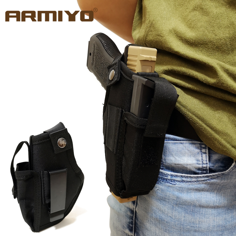 Armiyo Gun Magazine Holster Concealed Tactical Carry Belt Metal Clip Airsoft Nylon Bag Hunting Articles For All Sizes Handguns