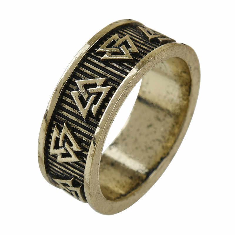 ไวกิ้ง Valknut Rune แหวนผู้ชายผู้หญิง Nordic Anel Bague เครื่องประดับงานแต่งงานแหวน 1 pc Dropshipping