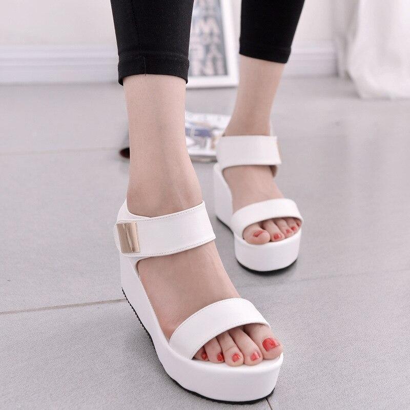 CPI 2018 sandals women Summer shoes Woman wedges platform sandals Fashion Flange Rome sandals white black women shoes EE-267 цена