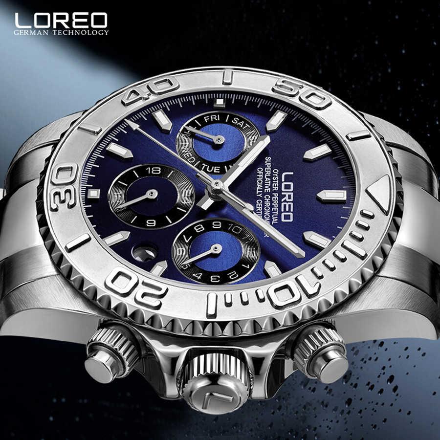 200 メートル防水 LOREO カモメ運動自動機械式時計男性発光ダイビングフルステンレススチール 6 ピン男性腕時計