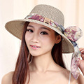 Women Sun Hat Candy Color Floppy Sun Hat Straw Hat New Arrival Wide Large Brim Summer Beach Cap with  Floral Ribbon Lace decor