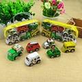 6 unids/lote tire car toys children racing car del coche del bebé mini tire hacia atrás del autobús camión niños de dibujos animados cars toys para niños boy regalos