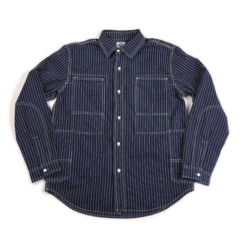 غير الأسهم خمر مخطط السكك الحديدية مهندس قمصان الرجال الدنيم عارضة Workshirt-في قمصان كاجوال من ملابس الرجال على  مجموعة 1