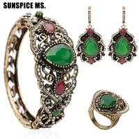 Hot Sale Turkish Resin Jewelry Sets Antique Long Hook Big Crystal Dangle Earrings Flower Bangle Cuff