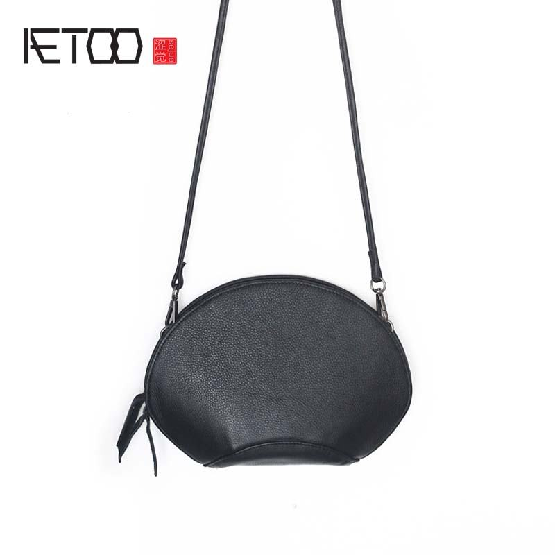 AETOO New original 2017 summer new leather handbags women lychee furrow layer cowhide shell bag shoulder Messenger bag small bag
