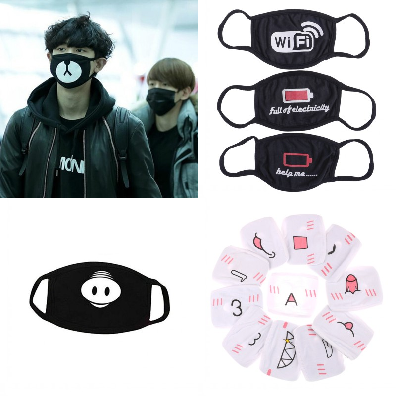 Black Anti-Dust Mouth Mask Health Cycling Cool Respirator Face Mask Washable Cotton Anti Dust Protective Double Kpop Mask