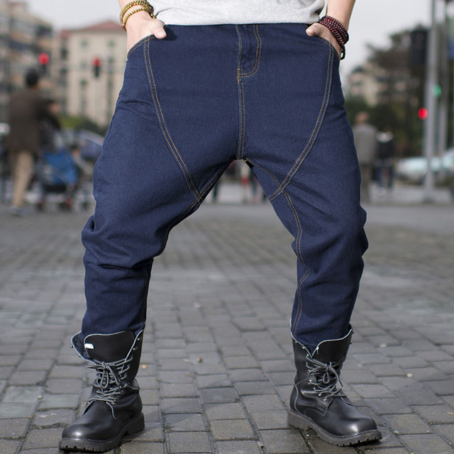 2c8e04110bb Big Men Drop Crotch Jeans Loose Baggy Hip Hop Jeans Men Black Blue 2019 New  Washed Wide Leg Jeans Hombre Plus Size 40 42 44 46