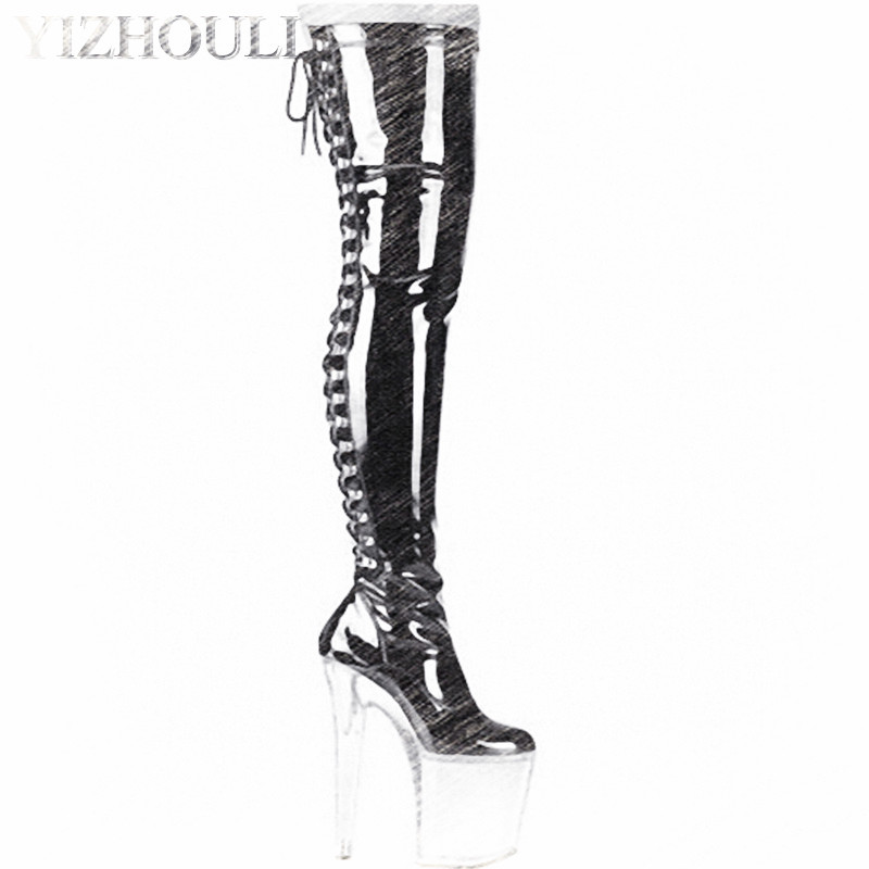 20cm High Heel over knee pole dancing boots black thigh high boots fetish 8 inch platform high heel boots sexy women tall boots 20cm pole dancing sexy ultra high knee high boots with pure color sexy dancer high heeled lap dancing shoes