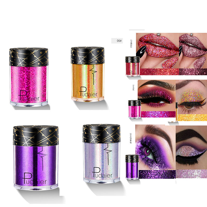 Pudaier Glitter Eyeshadow Pigment Waterproof Face Lip Nail Makeup Sombras Para Ojos Eyeshadow Shimmer Ombre A Paupiere Lasting