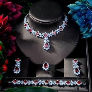 Image 2 - HIBRIDE Hotsale الأفريقي 4 قطعة الزفاف طقم مجوهرات s جديد أزياء دبي كامل طقم مجوهرات للنساء الزفاف حزب اكسسوارات N 314
