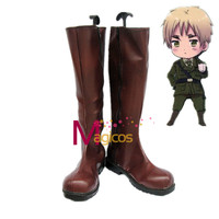 Anime APH Axis Powers Hetalia Poland/England Cosplay Party Shoes Dark Brown Boots Custom-made