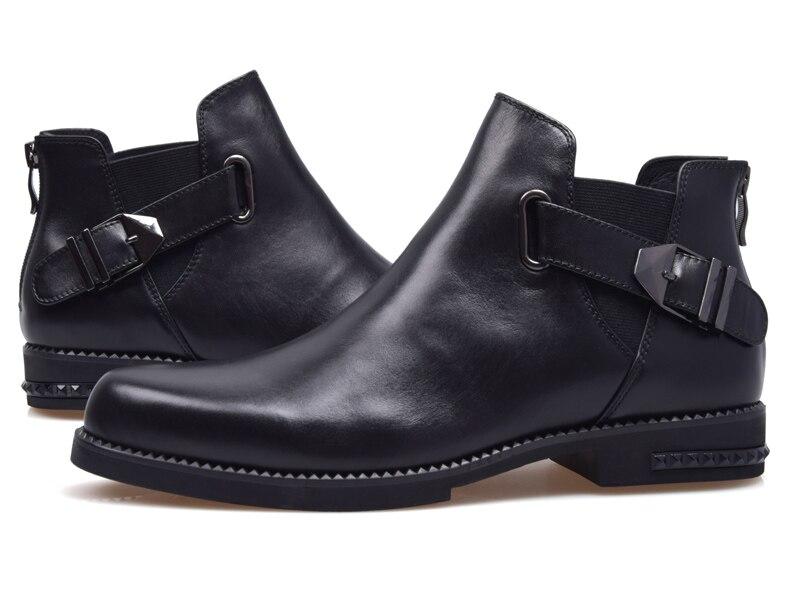 AMSHCA/Мужская Повседневная зимняя обувь из флока; теплые плюшевые зимние ботинки для мужчин; мужские ботильоны на плоской подошве со шнуровко... - 4