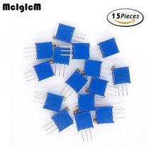 MCIGICM 15 значений 3296 Вт комплект потенциометров 3296 Вт многооборотный Подстроечный резистор регулируемый прецизионный потенциометр 3296 Вт переменные резисторы